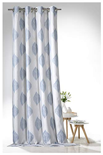 heimtexland ® Ösenschal Edler Jacquard Dekoschal Marokko 245x140 Vorhang Blickdicht Silber Blau Gardine Typ635