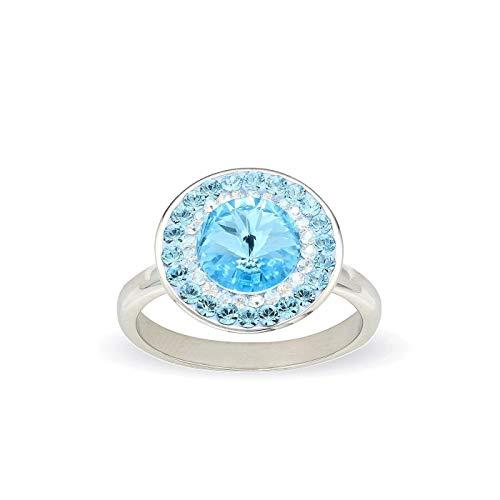 LA SENJA Bague en cristal bleu aigue-marine pour femme, argent sterling 925, ronde, faite à la main