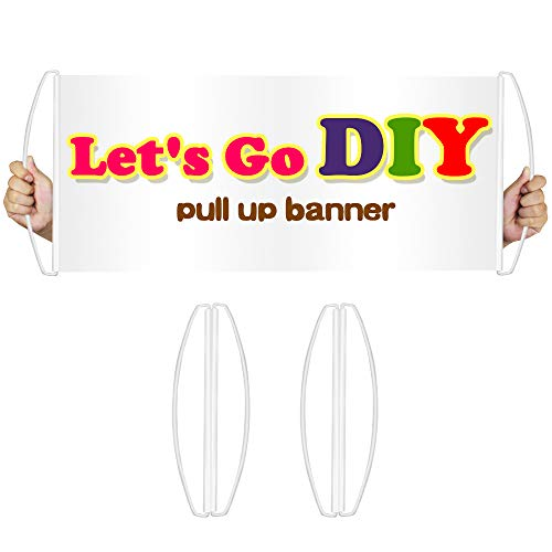 2 Pack Blank Banner Rolls Itself Up, Reusable DIY Custom Banner, Handflag, Portable, Fits in Your Pocket - Great Support Banner for Football Sports, Concerts, Cheer, Parade, Marathons,Team Spirit