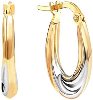 GELIN 14k Yellow Gold Two Tone Solid Round Hoop Earrings for Women 2mm Thick Classic Style Huggie product image