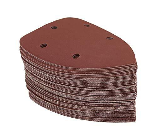 120 hojas de papel de lija / 92 x 140 mm / Delta – Multi – Discos abrasivos / 5 agujeros / en 6 granos, cada paquete de 20-40 – 60-80 – 120-180 – 240