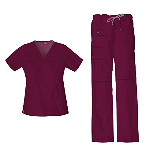 Frauen Gen Flex Junior Fit 'Youtility' Top 817455 & Low Rise Kordelzug Cargohose 857455 Scrub Set (Wein - XX-Small / XXSmall Petite)