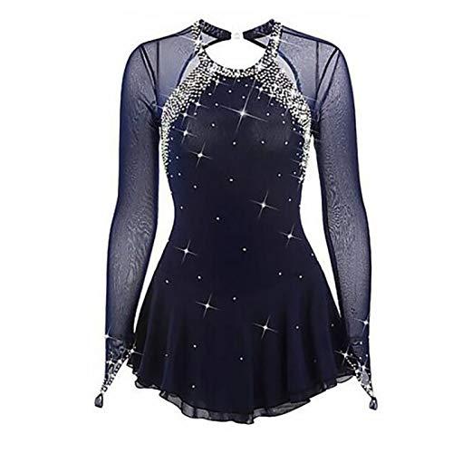 WYBF Vestido Patinaje Artístico Diamantes Brillantes para Mujer Chica Maillot Gimnasia Rítmica con Falda Body Baile Danza Ropa Bailarina Competición,S