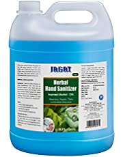 Jagat ISO Certified 5 Litre Hand Herbal Sanitizer with Aloevera, Tulsi & Neem Leaf Extracts, 70% Alcohol Based Herbal Refill Pack | Kills Germs Instantly, Non Sticky, Skin-Friendly | Made in India