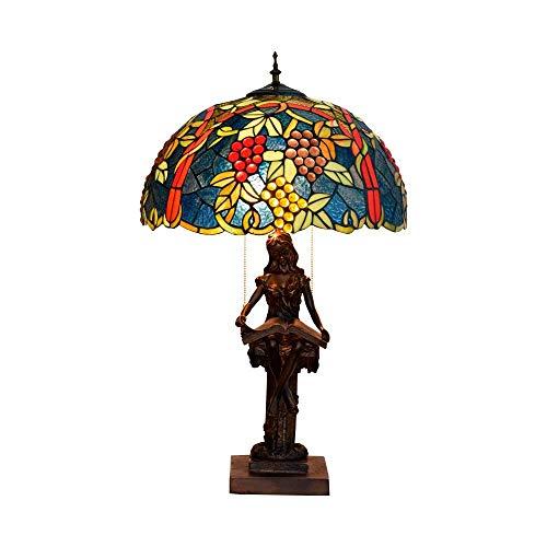 BXU-BG Estilo de GrapeStained de cristal Lámparas de mesa hecha a mano retra Dormitorio Lámparas Compatible with Sala de estar Sala de Estudio mesa de iluminación interior Lampwith base de resina, E27