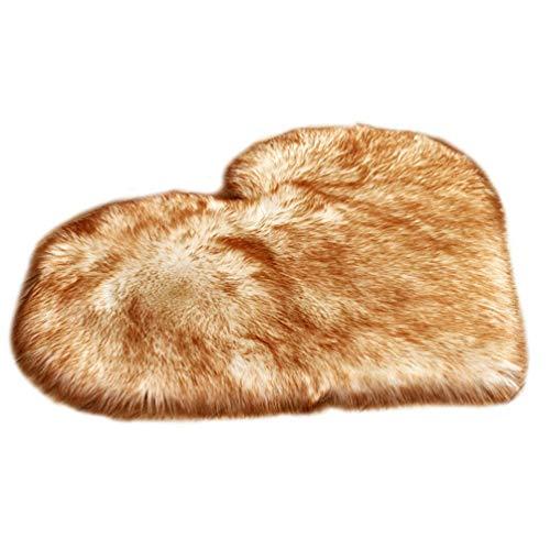 GladiolusA Faux Teppich,Imitat Teppich Super Weich Longhair Fell Optik Bettvorleger Sofa Matte Weiß Gelb 40 * 50cm