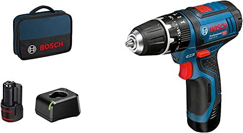 BOSCH 06019B690H - Taladro percutor a batería GSB 12V-15 Professional 12 V 2 Velocidades. 0-380/1.300 rpm. 30/14 Nm....