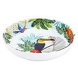 Les Jardins de la Comtesse - Piatto fondo ideale in piatto da zuppa o pasta, in melamina pura, motivo: Toucans de Rio, Ø 20 cm, multicolore