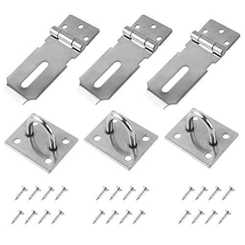 QUACOWW Door Padlock Hasp Shed Lock Stainless Steel Padlock Hasp Door Clasp Latch Padlock Heavy Duty Hasp and Staple with Screws for Door Cabinet Pet Cage