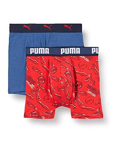 PUMA Jungen Puma Kids' Alpha Print (2 Pack) Boxer Shorts, Red Combo, 158-164 EU
