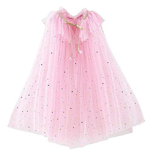 LZJEPrincess Party Kordelzug Pailletten Tüll Umhang Halloweenfür Prinzessin Jasmin, Umhang E pink, 10
