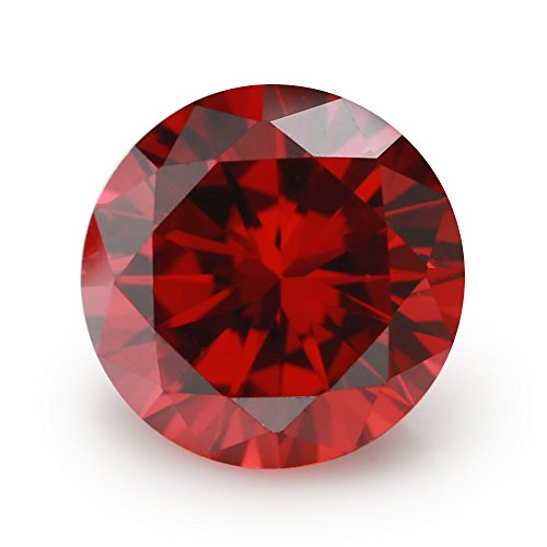 100PCS Size 3.0mm 5A Round Machine Cut Garnet Color Cubic Zirconia Stone Loose CZ Stones (3.0mm 100pcs)