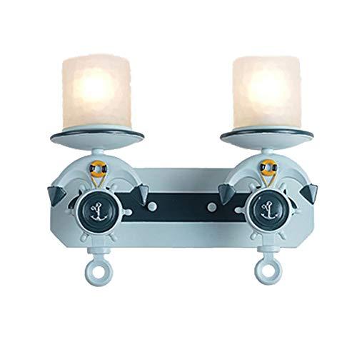 Wj Sombra de la Sala Pared de la Resina Accesorios de iluminación de Cristal de Anclaje de la lámpara de Pared nórdica Aplique niños el Modelado Cubierta Loft Comedor Decoración,2 Lights