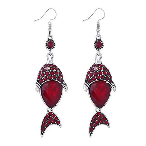 YAZILIND Vintage rhinestone peces colgantes gota cuelgan pendientes de las mujeres joyas de regalo (rojo)