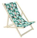 Novamat - Tumbona para niños, de madera, plegable, para playa, jardín, balcón, playa, diseño: Hello