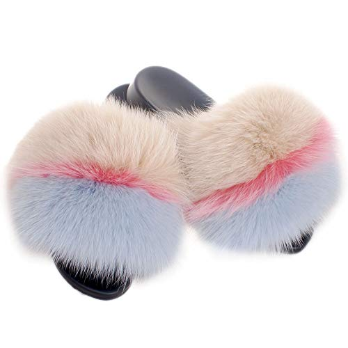 Fell Latschen Pelz Pantoffeln mit beige, rosa und himmelblau Fuchs Echtfell Echtpelz Schlappen Sandalen mit Pelz Fuchsfell Slipper Slides Schuhe Pantoletten (39 EU)