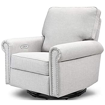 Million Dollar Baby Classic Linden Power Recliner and Swivel Glider in Light Grey Tweed USB Charging Port Push-Button Electronic Reclining Mechanism Greenguard Gold Certified