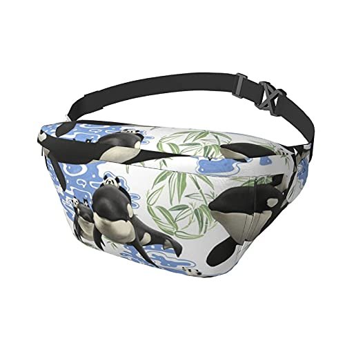 Panda Riding Orca Whale Printed (2) Sling Bag Fanny Pack Crossbody Shoulder Backpack for Men Women Lightweight Casual Chest Bags Waist Daypack for Travel Gym Sport Hiking Cycling