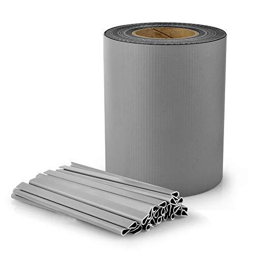 S SIENOC PVC Sichtschutz PVC Sichtschutzfolie Sichtschutzstreifen Garten Sichtschutz Zaun Inkl. 30 x Befestigungsclips 450g/m² -Roll Größe 35m x 19cm für Einzel-Bar, Doppel-Bar (35m, Grau)
