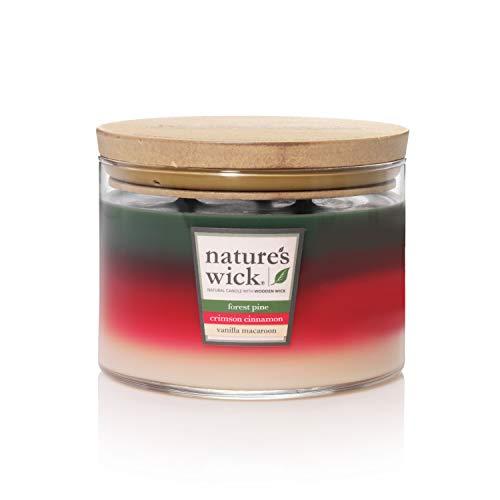 Nature's Wick Multi Scent 3 Wick Scented Candle|Forest Pine/Crimson Cinnamon/Vanilla Macaroon Trio Jar Candle|Wood Candle Wick 18 oz. Glass Jar Candle