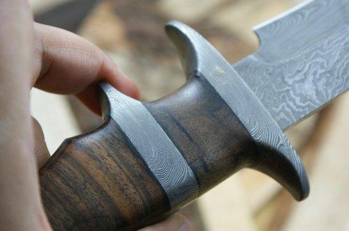 Custom Damast Bowie Messer Jagdmesser Mit Lederscheide - 6