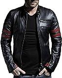 Mia Fashion Leather Retail Black Color Designer Faux Leather Biker Jacket for Man (44, Black)