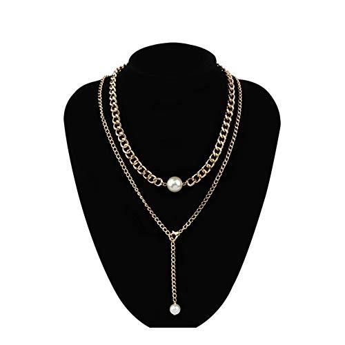 chenran Accesorios Cadenas de Bola Colgante Collares Larga del Metal joyería de la Boda del Partido de Las Mujeres for el Collar Regalo (Metal Color : Pearl Gold)