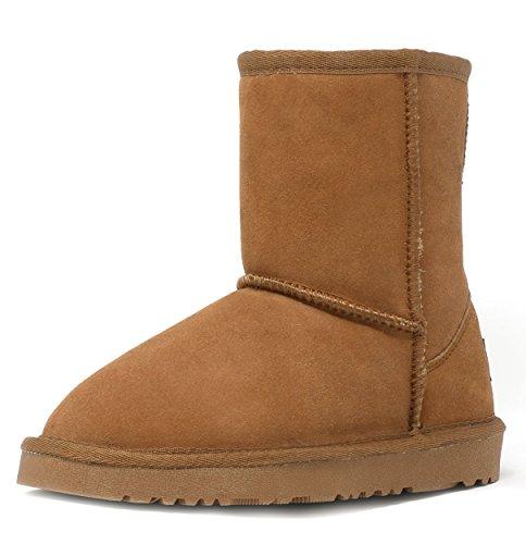 DREAM PAIRS Little Kid Shorty-K Chesnut Sheepskin Fur Winter Snow Boots Size 13 Little Kid