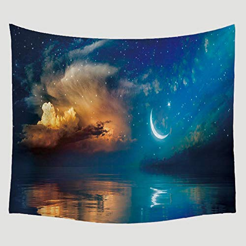 AdoDecor Estrella Luna Escénica Patrón Impreso Tapiz Colgante de Pared Decoración Mobiliario Viaje Picnic Playa Mantón Camping Manta Bohemia 150x130CM