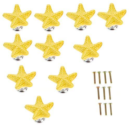 FBSHOP(TM) 34mm 10pcs Gelb Schöne Starfish Form Schubladengriffe Möbelknöpfe Griffe Knauf für Küche Schränke, Schubladen,Badezimmer ,Schlafzimmer-Kinder , Kindermöbel Dekorative