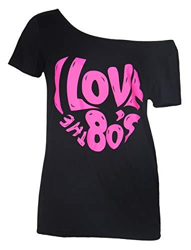Smile Fish 80er Jahre Kleidung Damen Top ich Liebe 80er Jahre l?ssig ¨¹bergro?e Damen Retro Parteien T Shirt Top£¨Black-2,XL£©