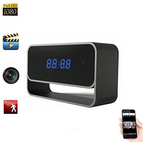 Hidden Wifi Alarm Clock 1080p Full HD Mini DV Cámara espía H.264 IR Nightvision Detección de movimiento Activated Remote Monitoring Loop Control remoto inalámbrico 8 millones de píxeles@Laing-H