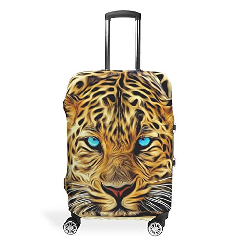 Leopard Animal Travel Luggage Protector Foldable Prevents Scuffs Fits 18-32 Inch for Wheeled Suitcase Over Softsided White 30-32in