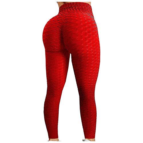 Semoatuc Mallas de yoga para mujer de cintura alta, pantalones de fitness Bubble con punto de malla, pantalones de yoga ajustados con cintura alta rojo M