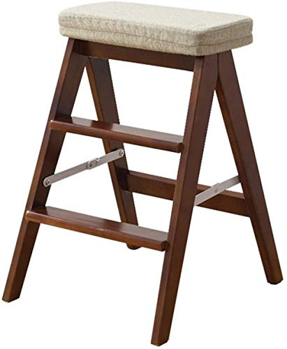 step stool Wood Step Ladder Stool Folding Kitchen Steps Library Office 3 Step Stepladder Removable Cushion folding chairs (Color : 4, Size : A)