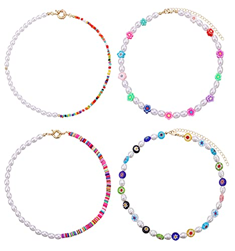 Biokia Beaded Necklace Y2k Beaded Choker Necklace for Women Evil Eye Flower Necklace Colorful Boho Y2k Necklace Pack 4 Pieces
