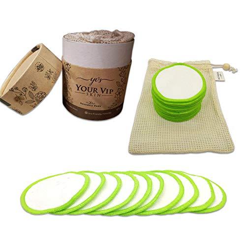 Your Vip Skin disque démaquillants réutilisables - Lot de 20 Tampons, coton, rondelles de coton en bambou biologique