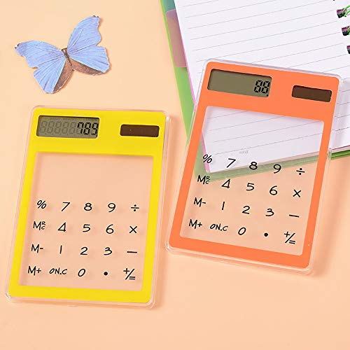 Iulove Mini Creative Stationery Candy Slim Solar Energy LED Clear Scientific Calculator