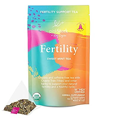 Pink Stork Fertility Tea: Sweet Mint, Raspberry Leaf Tea, 100% Organic, Fertility Tea for Women to Help Support Prenatal Vitamins + Hormones + Cycle, Women-Owned, 30 Cups