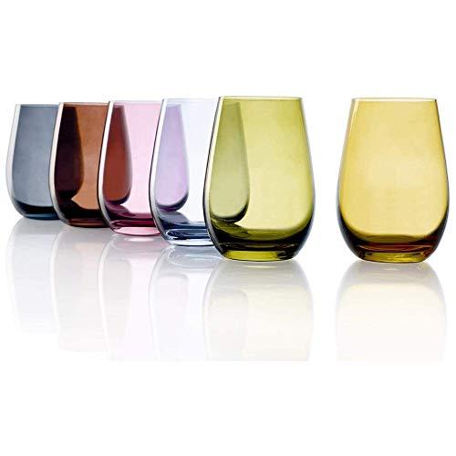 Stölzle Lausitz Mediterraner Mix I hochwertige Moderne Trinkgläser der Serie Elements I Gläser 465 ml I 6er Gläser Set I Wassergläser Set I Gläser bunt I Trinkglas ist spülmaschinenfest