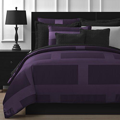 Comfy Bedding Frame Jacquard Microfiber Queen 5-piece Comforter Set, Plum