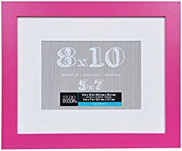8 x 10 Pink Picture Frame Assortment of Colored Photo Frames - Displays 5x7 with Mat or 8x10 W/O Mat - Wall Mounting Material Included … (Pink)