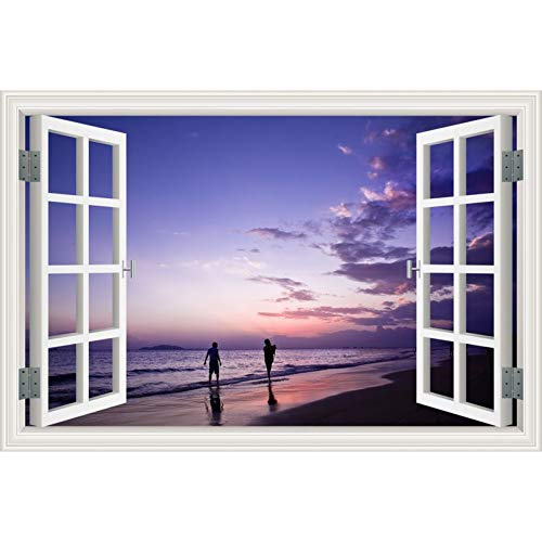 HYYDHD zee zonsondergang landschap 3D sticker venster behang wooncultuur woonkamer slaapkamer muurkunst 32x48inch 80x120cm 19