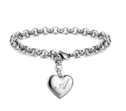 Initial Charm Bracelets Stainless Steel Heart Letters A Alphabet Bracelet for Women