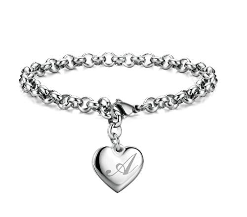 Monily Initial Charm Bracelets Stainless Steel Heart Letters A Alphabet Bracelet for Women