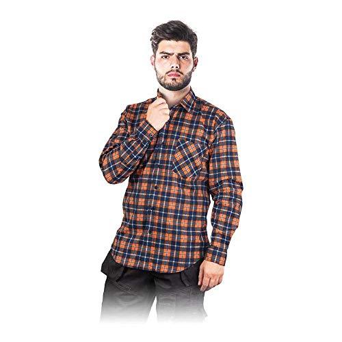 Kf-Gpxxl bescherming flanel hemd, donkerblauw-oranje, XXL maat