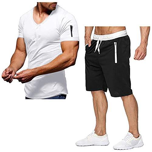 riou Camiseta Pantalones Cortos Color Sólido Traje deportivo de Verano Cuello de V Manga Corta Traje Talla grande para Entrenamiento Deportivo Fitness Corriendo