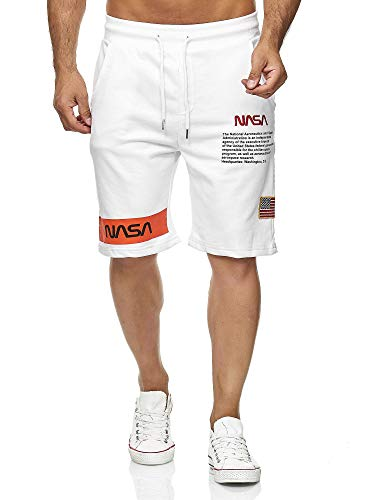 Red Bridge Herren Shorts Kurze Hose Sweat Pants Jogginghose NASA Logo USA M4854 Weiß L