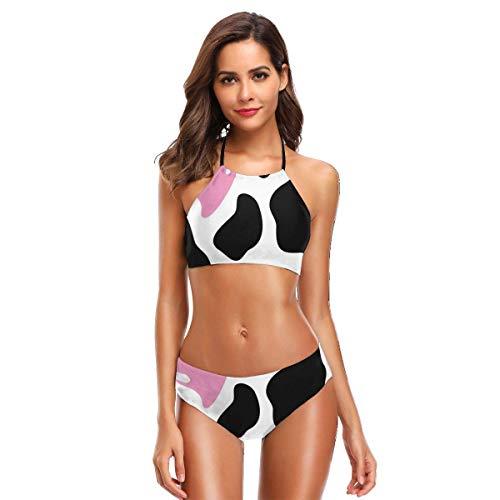 not applicable Zweiteilige Bikini-Badeanzüge für Frauen Tarnmuster in Schwarz und Weiß mit süßer rosa Herzform MOO