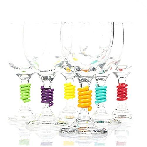 Tangger 12 PCS Segna Calici,Segnabicchieri Spirali di Plastica Marcatore Segna Calic per Bar Feste Tutte le Occasioni,6 Colori